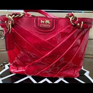 Coach Madison Red Patent Leather Tote